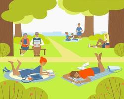 persone che leggono nel parco vettore
