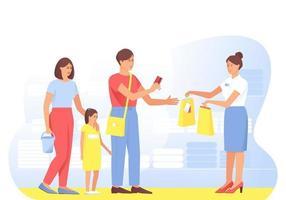 la famiglia fa acquisti dal venditore nel negozio vettore