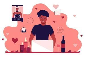 un giovane ragazzo si siede al monitor di un laptop e comunica in una chat di appuntamenti. una ragazza e un uomo in un appuntamento romantico online. illustrazione vettoriale piatta