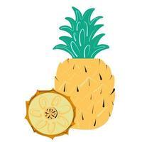 frutta stilizzata di ananas estivo e la sua fetta. icona piana del fumetto dell'illustrazione di vettore isolata su bianco