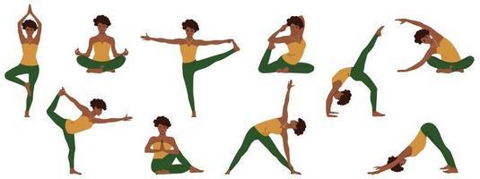 yoga pone insieme. raccolta di giovane donna afro-americana che dimostra varie posizioni facendo asana dall'insonnia e per rilassarsi. illustrazione vettoriale piatto isolato