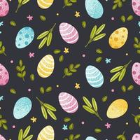 modello senza cuciture di Pasqua con uova ed elementi primaverili. illustrazione vettoriale per carta da parati, carta da imballaggio, cartoline