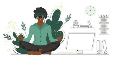 donna afroamericana in ufficio si rilassa, che riposa in occhiali per realtà aumentata. immergiti nella natura e ascolta i suoni della natura senza lasciare il tuo posto di lavoro. vr concetto illustrazione vettoriale