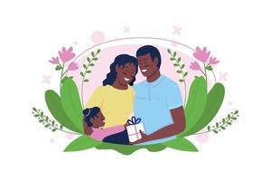 La famiglia afroamericana felice celebra l'illustrazione piana di vettore di concetto di festa della mamma