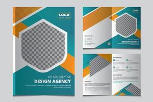 modello di brochure aziendale bi fold creativo. pieghevole design brochure per affari, azienda, agenzia di marketing. a4 multiuso brochure aziendale bifold, flyer, depliant vettore