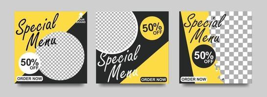 banner di social media per il settore alimentare. modello di social media alimentare per attività di ristorazione. banner post modello sociale moderno. modello di post sconto alimentare. vettore