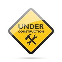 segno in costruzione isolato su sfondo bianco, illustrazione vettoriale
