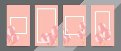 banner festivo con palloncini rosa elio. composizione cornice con spazio per il testo. utile per annuncio, poster, flyer, biglietto di auguri vettore