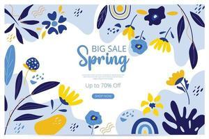 banner di primavera grande vendita con fiore sboccia. banner di vendita. illustrazione vettoriale. disegnato a mano. disegno floreale organico. vettore