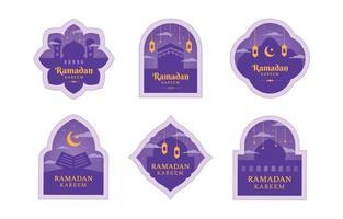 etichetta piatta ramadan impostata con colore viola vettore