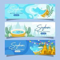 raccolta di banner festival dell'acqua di songkran vettore