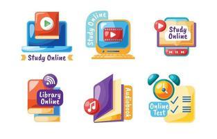 raccolta di etichette di istruzione online vettore