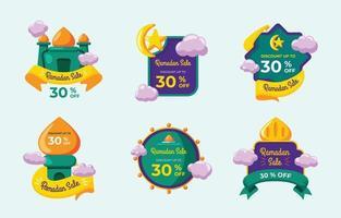 collezione di etichette di vendita di ramadan vettore