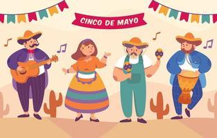 cinco de mayo troupe mariachi e personaggio ballerino vettore