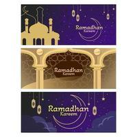 banner di saluto di ramadhan kareem vettore
