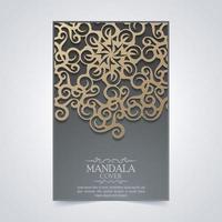 copertina di mandala di lusso in colore scuro vettore