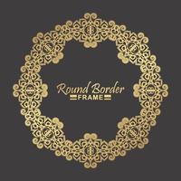 design del telaio floreale rotondo in oro di lusso vettore