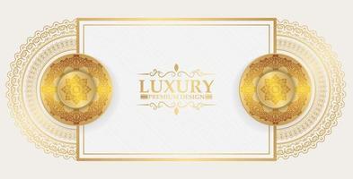 sfondo di lusso bianco e oro mandala vettore