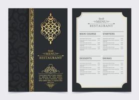 menu del ristorante scuro di lusso con ornamento del logo vettore