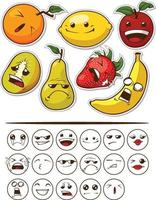 Cartoon frutta organica espressione emoticon illustrazione vettoriale disegno