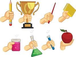 gesto della mano istruzione scolastica segno cartoon illustrazione vettoriale disegno