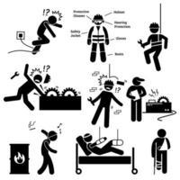 pittogramma di pericolo di infortunio sul lavoro e sulla salute. vettore