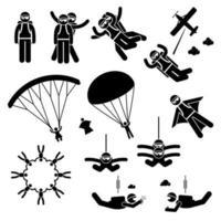 paracadutismo paracadutista paracadute tuta alare caduta libera figura stilizzata pittogramma icone. vettore