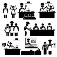 lezione di cucina chef cuoco figura stilizzata pittogramma icone. vettore