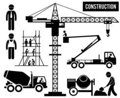pittogramma di industria pesante di sollevamento del cielo del camion del miscelatore della gru a torre dell'impalcatura della costruzione. vettore