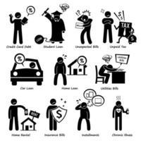 passività personali - debito, prestito, bollette, tasse, affitto, rate e pagamento medico di icone di pittogrammi con figure stilizzate. vettore