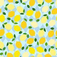 modello di limone. sfondo decorativo senza soluzione di continuità con i limoni gialli. design estivo luminoso su sfondo blu rombo. vettore