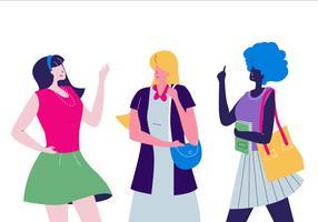 Illustrazione piana di vettore di colore di tono della pelle del carattere delle donne