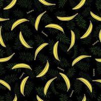 foglie verdi senza soluzione di continuità e banane gialle. sfondo tropicale. stampa per web, tessuto e carta da imballaggio. vettore