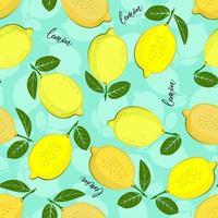 modello di limone. sfondo decorativo senza soluzione di continuità con i limoni gialli. luminoso design estivo su uno sfondo di colore verde mare. vettore