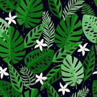 seamless con foglie e fiori bianchi. disegnati a mano, vettore, colori vivaci. sfondo per stampe, tessuti, sfondi, carta da imballaggio. vettore