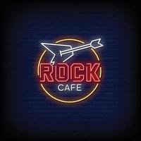 vettore del testo di stile delle insegne al neon del rock cafe