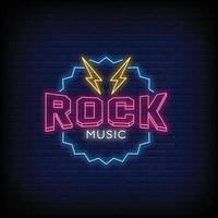 vettore del testo di stile delle insegne al neon di musica rock