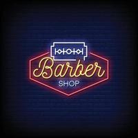 vettore del testo di stile delle insegne al neon del negozio di barbiere