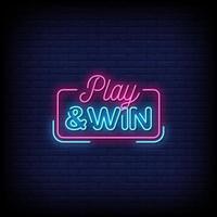 giocare e vincere vettore di testo in stile insegne al neon