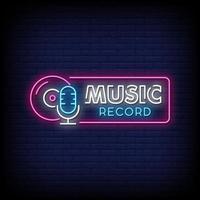 vettore del testo di stile delle insegne al neon del record di musica