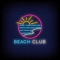 vettore del testo di stile delle insegne al neon del beach club