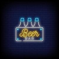 vettore del testo di stile delle insegne al neon della barra della birra