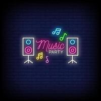 vettore del testo di stile delle insegne al neon del partito di musica