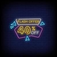 Flash offre insegne al neon stile testo vettoriale