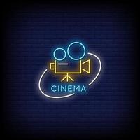vettore del testo di stile delle insegne al neon del cinema