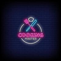maestro di cucina insegne al neon stile testo vettoriale