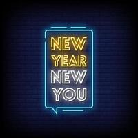 nuovo anno nuovo te insegne al neon stile testo vettoriale