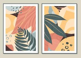 set botanico vettore wall art. motivo astratto di fiori e rami per collage, poster, copertine, ideale per la decorazione murale. vettore