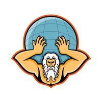 atlante che solleva mascotte del globo vettore