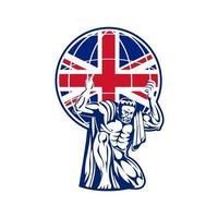 Atlante che trasporta il globo con la bandiera del Regno Unito vettore